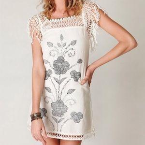 Free People Crochet Fringe Sleeve Tunic Mini Dress